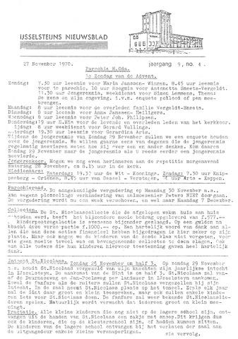 Ysselsteyns Nieuwsblad 1970-11-27