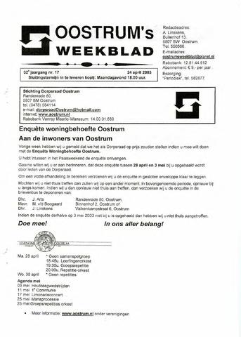 Oostrum's Weekblad 2003-04-24