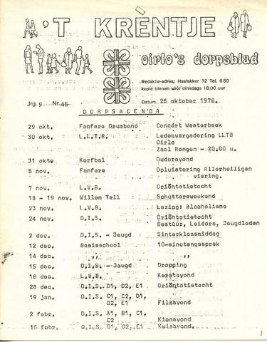 Oirlo's dorpsblad 't Krèntje 1978-10-26