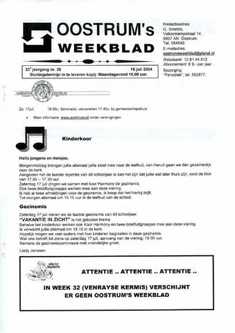 Oostrum's Weekblad 2004-07-15