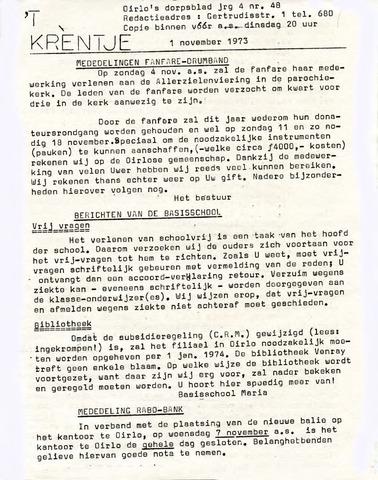 Oirlo's dorpsblad 't Krèntje 1973-11-01