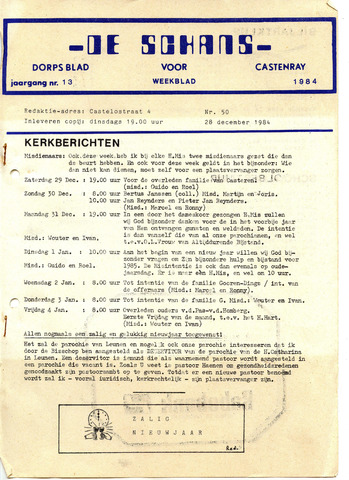 Castenrays dorpsblad De Schans 1984-12-28