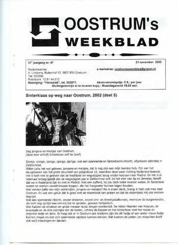 Oostrum's Weekblad 2002-11-21