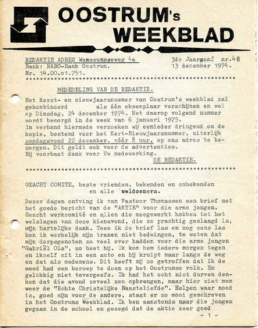 Oostrum's Weekblad 1974-12-13
