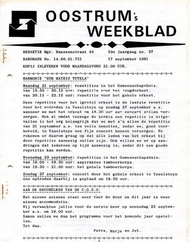Oostrum's Weekblad 1981-09-17