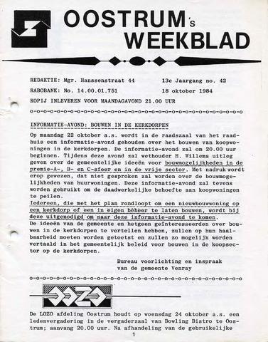 Oostrum's Weekblad 1984-10-18