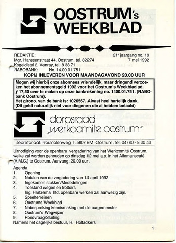 Oostrum's Weekblad 1992-05-07