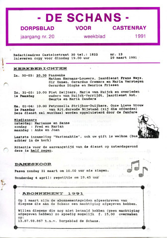 Castenrays dorpsblad De Schans 1991-03-29