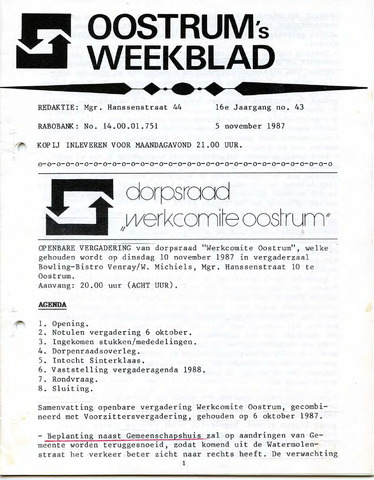 Oostrum's Weekblad 1987-11-05