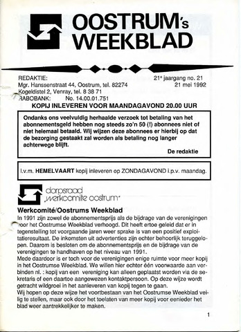 Oostrum's Weekblad 1992-05-21