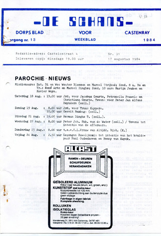 Castenrays dorpsblad De Schans 1984-08-17
