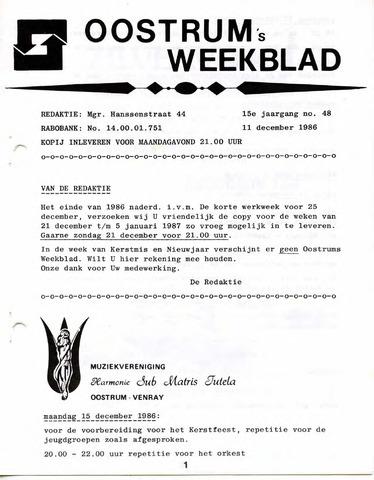 Oostrum's Weekblad 1986-12-11