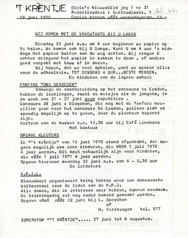 Oirlo's dorpsblad 't Krèntje 1970-06-19