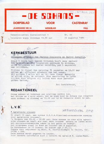 Castenrays dorpsblad De Schans 1985-08-23