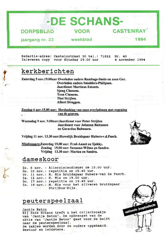 Castenrays dorpsblad De Schans 1994-11-04