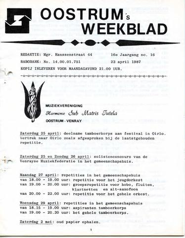 Oostrum's Weekblad 1987-04-23