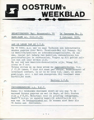 Oostrum's Weekblad 1976-02-05
