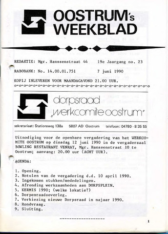 Oostrum's Weekblad 1990-06-07