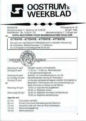 Oostrum's Weekblad 1993-04-22
