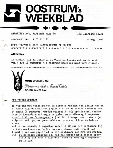 Oostrum's Weekblad 1988-08-04