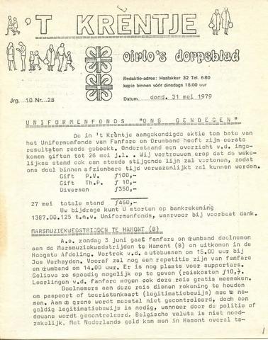 Oirlo's dorpsblad 't Krèntje 1979-05-31