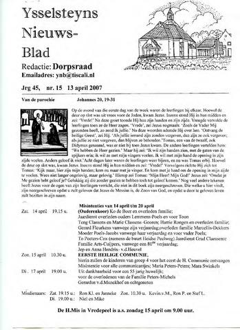 Ysselsteyns Nieuwsblad 2007-04-13