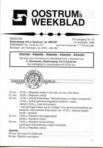 Oostrum's Weekblad 1998-11-19