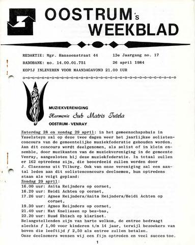 Oostrum's Weekblad 1984-04-26