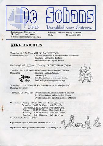 Castenrays dorpsblad De Schans 2003-12-23