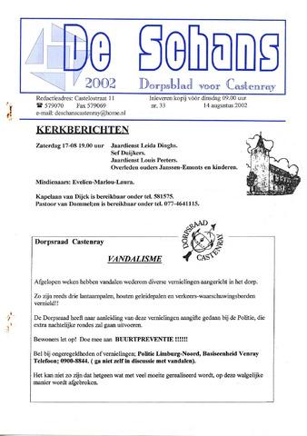 Castenrays dorpsblad De Schans 2002-08-14
