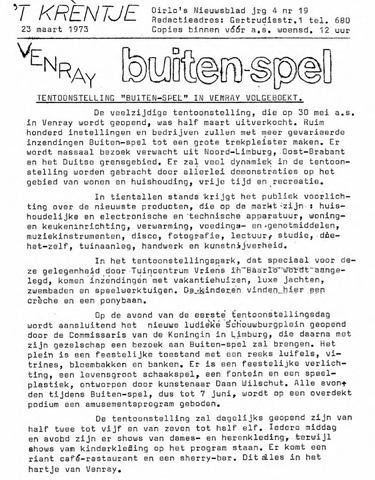 Oirlo's dorpsblad 't Krèntje 1973-03-23