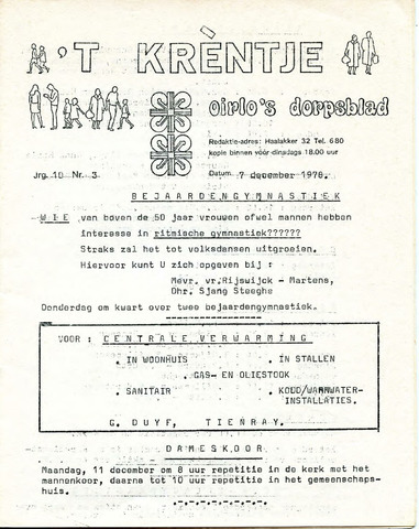 Oirlo's dorpsblad 't Krèntje 1978-12-07