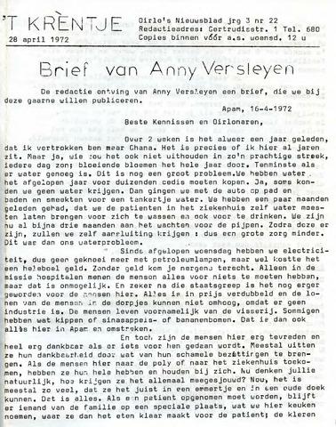 Oirlo's dorpsblad 't Krèntje 1972-04-28
