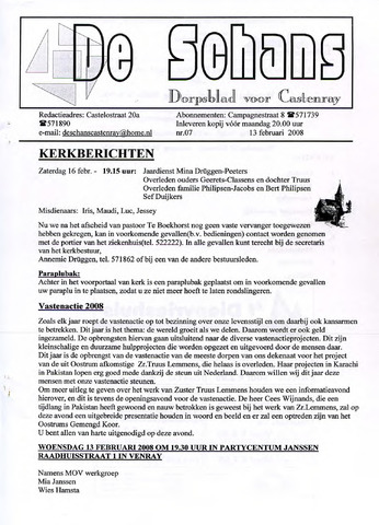 Castenrays dorpsblad De Schans 2008-02-13