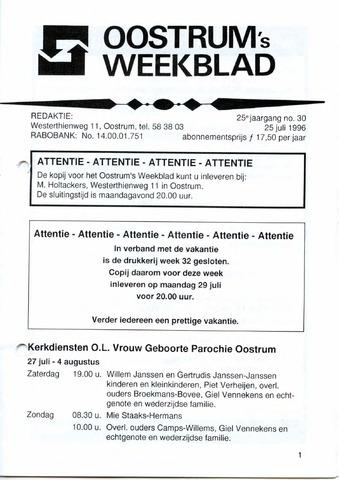 Oostrum's Weekblad 1996-07-25