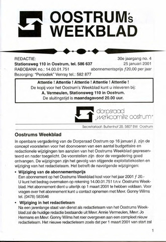 Oostrum's Weekblad 2001-01-25