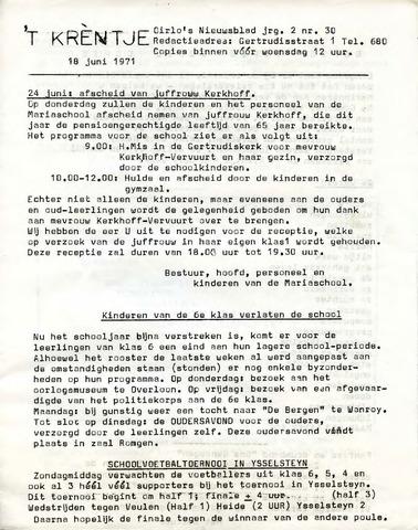Oirlo's dorpsblad 't Krèntje 1971-06-18
