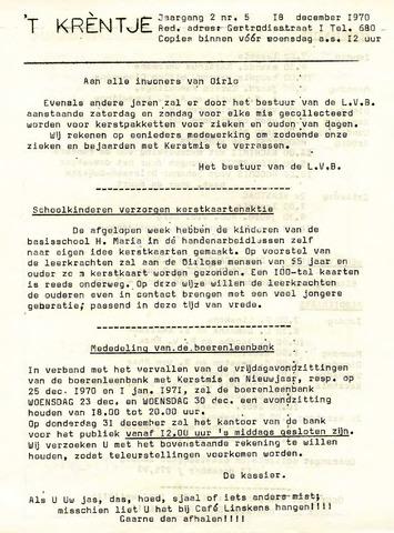 Oirlo's dorpsblad 't Krèntje 1970-12-18