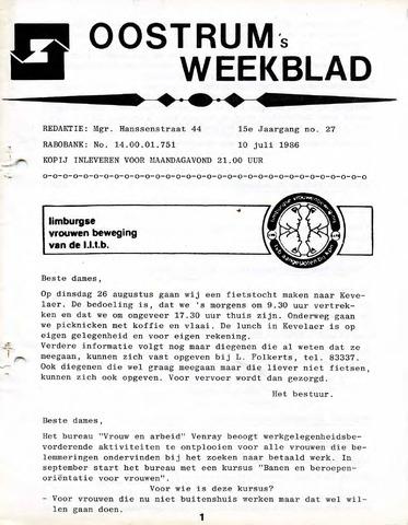 Oostrum's Weekblad 1986-07-10