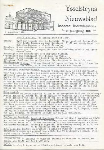 Ysselsteyns Nieuwsblad 1976-08-07