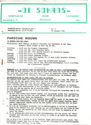 Castenrays dorpsblad De Schans 1981-01-25