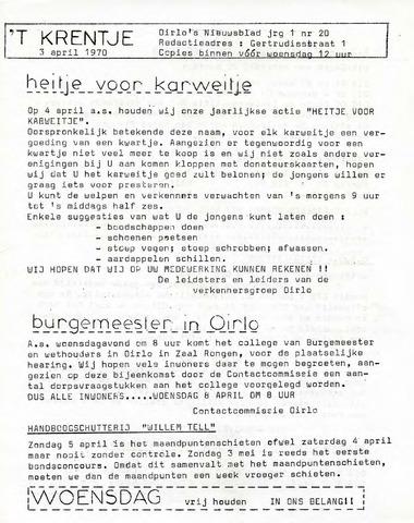 Oirlo's dorpsblad 't Krèntje 1970-04-03