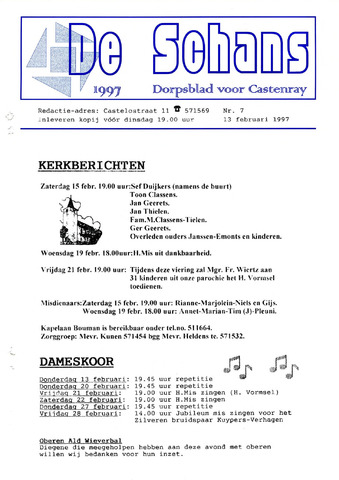 Castenrays dorpsblad De Schans 1997-02-13