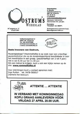 Oostrum's Weekblad 2007-04-26