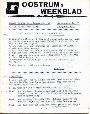 Oostrum's Weekblad 1976-04-15