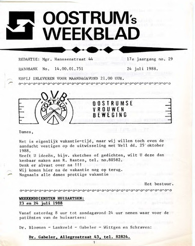 Oostrum's Weekblad 1988-07-24