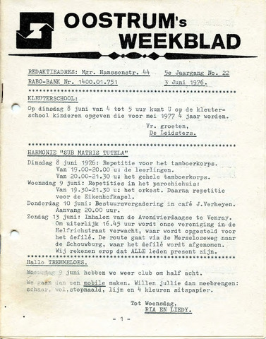 Oostrum's Weekblad 1976-06-03