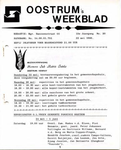 Oostrum's Weekblad 1986-05-22