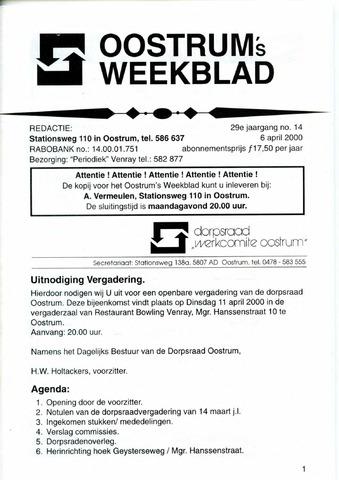 Oostrum's Weekblad 2000-04-06