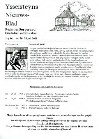 Ysselsteyns Nieuwsblad 2008-07-25